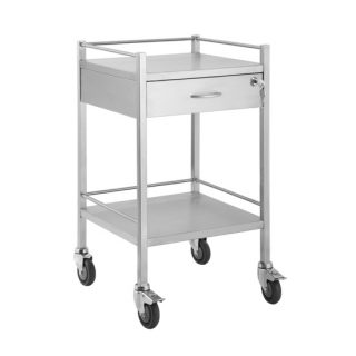 Single Stainless Steel Trolley 1 Draw With Lock