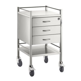 Single Stainless Steel Trolley 3 Draw With Top Locking Draw