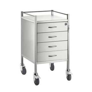 Single Stainless Steel Trolley 4 Draw With Top Locking Draw