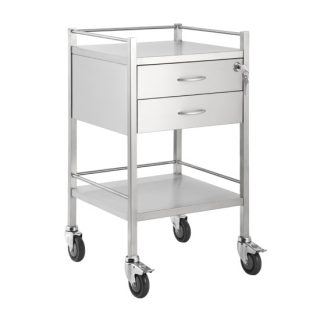 Single Stainless Steel Trolley 2 Draw With Top Locking Draw
